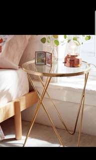 Designer gold glass top side table