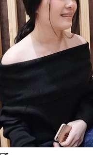off shoulder black sweater top / sabrina top