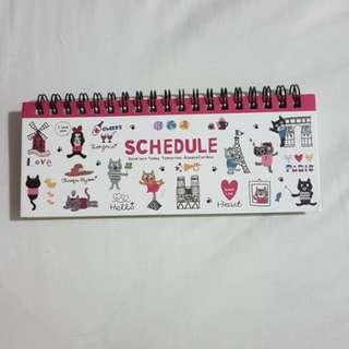 Schedule book notebook cute cat