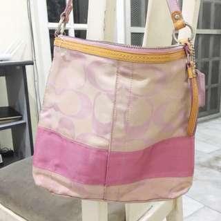 [Authentic] Pink Coach Jacquard Crossbody Bag