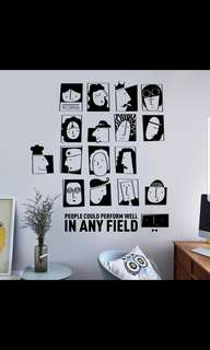 ( PO ) Fashion black and white simple personality avatar decorations wall stickers creative living room bedroom study art ins stickers ⭕SIZE W90*60cm Pre-cut Can Diy