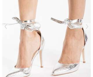 Brand new lace up silver heels