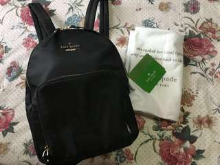 Kate Spade Black Watson lane- Hartley nylon backpack overruns
