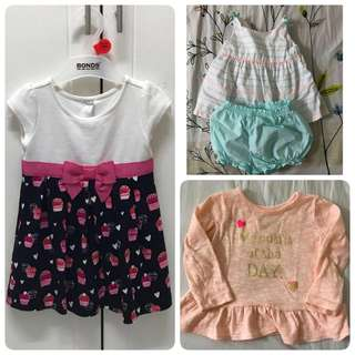 (SET) clearance baby dress/top/bottom