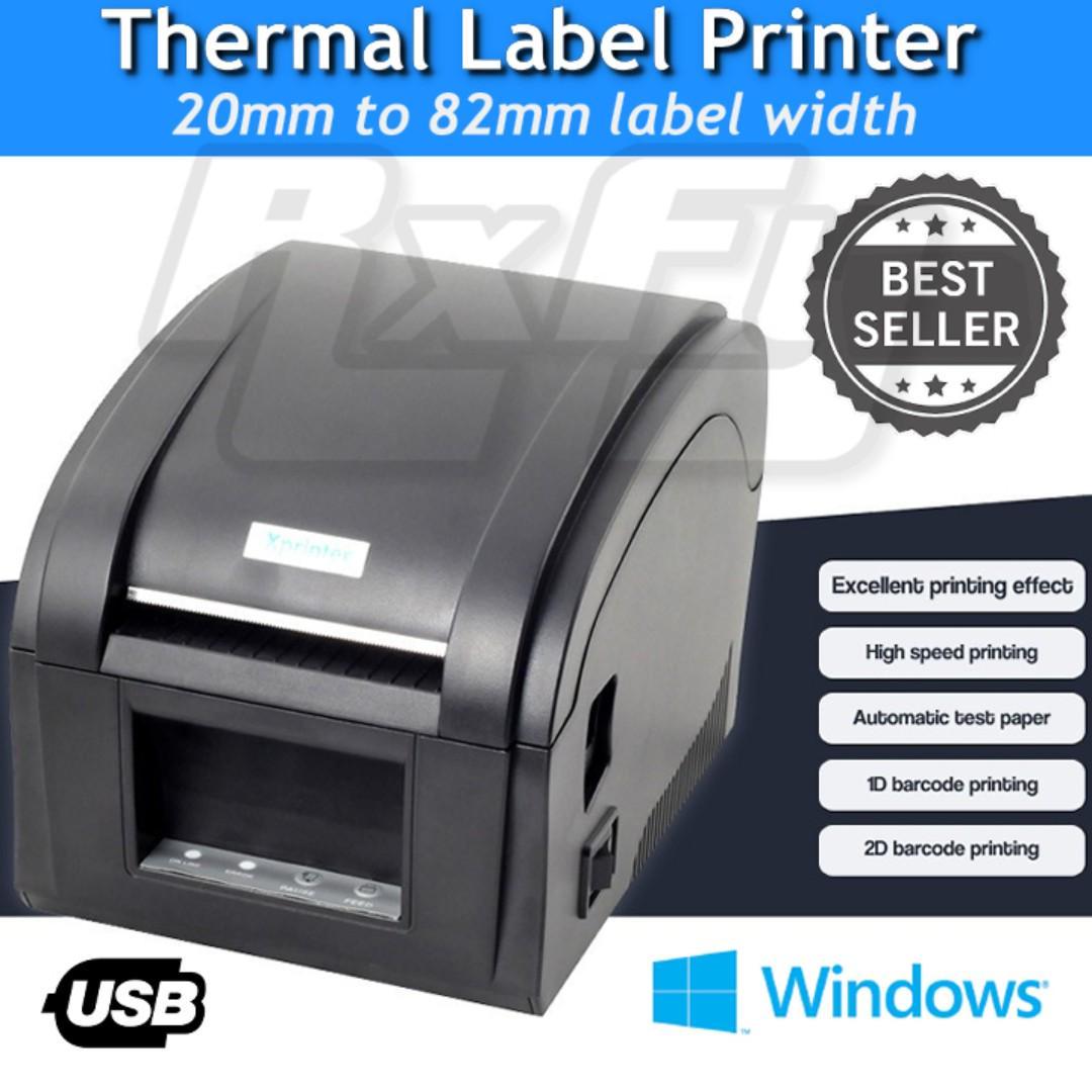 20mm - 80mm Thermal Label Barcode Printer USB PC Windows