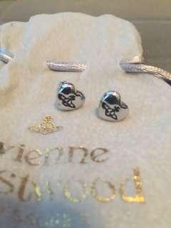 Westwood 銀色❤️型耳環