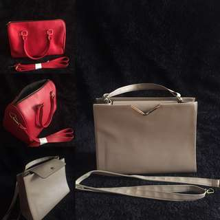 Bundle: Korean Nude Bag + Maven Red Speedy Bag (both with removable sling straps)
