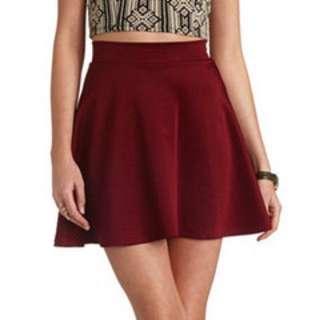 Maroon High Waist Skirt