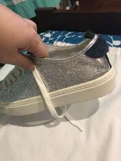 Zara mettalic silver sneakers with navy blue accent