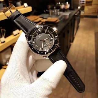 Blancpain Fifty Fathoms 5015-1130-52 Stainless Steel Case Black Dial on Sail-canvas Strap
