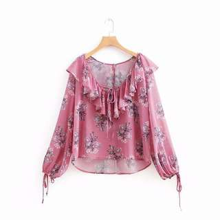 🚚 Europe and the United States women's pink V-neck flower printing strappy lace long sleeve shirt