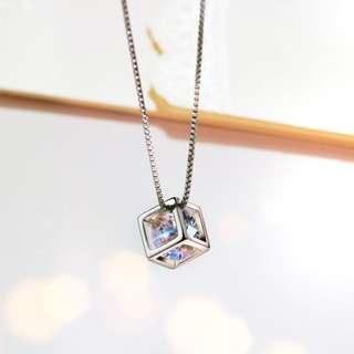 V00408 925純銀 魔方閃鑽吊咀頸鍊 包郵 順豐 925 Silver Necklace