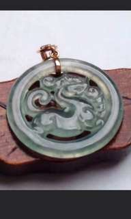 🍍18K Gold - Grade A 冰种 Icy 麒麟 Qilin Jadeite Jade Pendant🍍