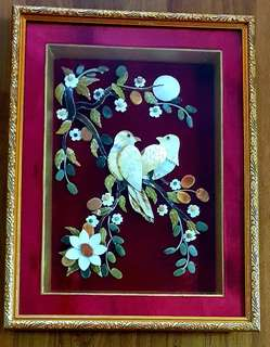 Natural Jade and Shell Art Wall Deco-Couple Bird