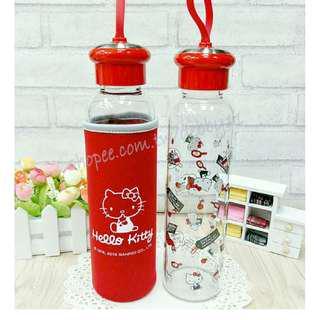 Hello Kitty 玻璃水瓶 正版 Kitty玻璃瓶 水瓶 玻璃瓶 隨身杯 Kitty水瓶 玻璃瓶 耐熱玻璃瓶 KT