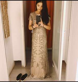 Adrianna Papell Gold Long Gown Beaded