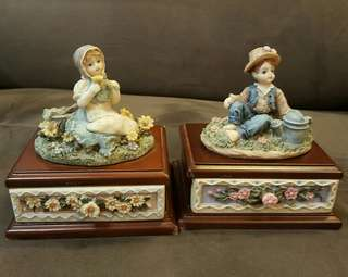 Vintage Home Decor - Country Boy and Girl tiny pedestal drawers