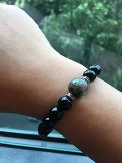 *feedback from client* Green phantom with onyx Bracelet