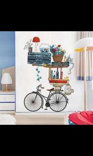 ( PO ) Retro Bicycle Decoration Wall Sticker Creative Living Room Bedroom Corridor Warm Wall Self-adhesive Wallpaper Sticker ⭕SIZE W92*135cm