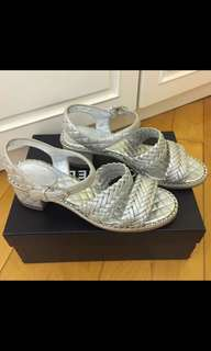 Authentic Chanel silver sandals