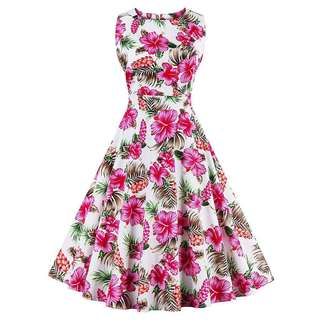 Free Shipping Promotion-15-25 Days Time Shipping Women Hepburn Retro Pure Cotton Sleeveless Dress