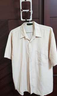 🚚 麻布料襯衫   夏季衣著   透氣輕薄  米色