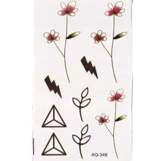 Flowers and Triangles Temporary Tattoos