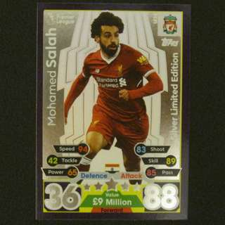 最新 17/18 Match Attax Extra SILVER Limited Edition - Mohamed SALAH #Liverpool 利物浦