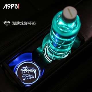 🚚 Stussy 汽車LED杯墊 飲料氣氛燈