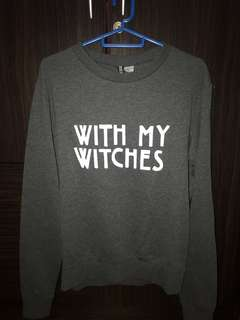 🚚 H&M pullover Black ( WITH MY WITCHES )