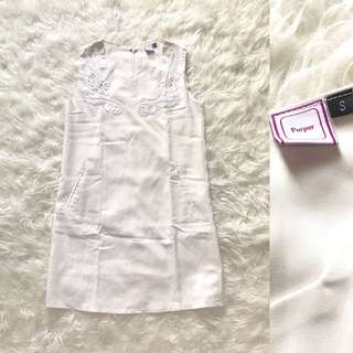 PURPUR white embroidered dress