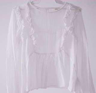 H&M White Ruffles top