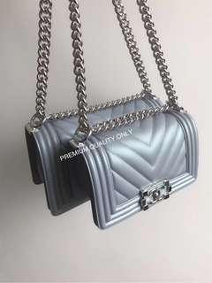 Chanel Metallic Lambskin Boy Bag 2018- blue