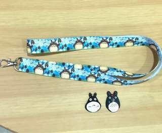 Handmade Totoro lanyard with brooch (choose 1 brooch)