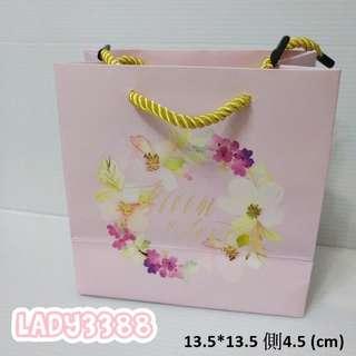 3入夢幻紫羅蘭色燙金字紙袋 W174