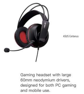 BNIP Asus Cerberus Gaming Headset - Compatible with Mac, PC, PS4 & smart devices