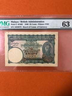 1940 Malaya 25 cents