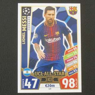 17/18 Match Attax Champions League UCL All-Star XI - Lionel MESSI #Barcelona