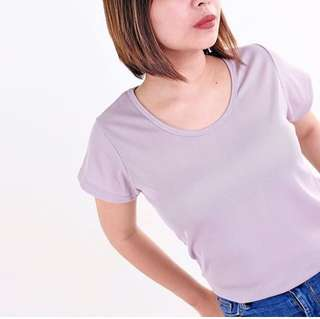 HTP Short-sleeved lavander basic tee