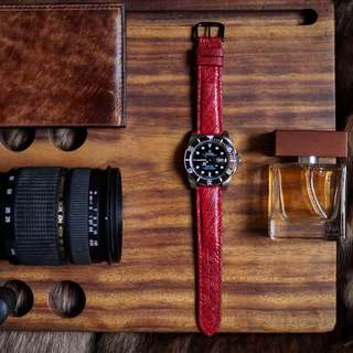 Genuine Red Ostrich Leather Handmade Strap For 20mm Watches