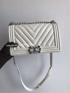 Boutique Quality Chanel Boy Bag- white