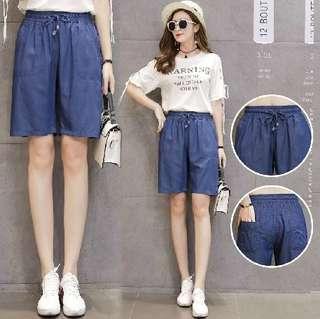 80254 #大碼寬鬆休閒五分褲  颜色: 藍色   尺寸: S M L XL 2XL 3XL 4XL 5XL