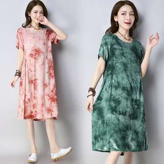 Free Shipping Promotion-15-25 Days Shipping Time for New Tie Dyed Short Sleeved Cotton Linen Dress