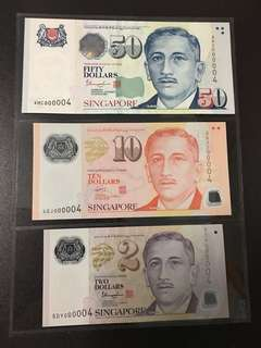 Yusof $2 $10 $50 (UNC) 5DY/4GJ/4HC 000004