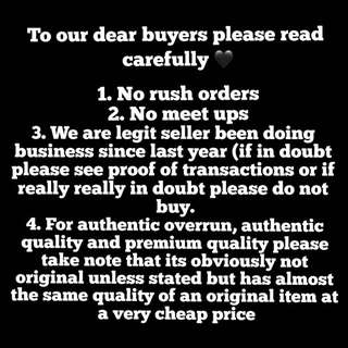 To our dear buyers please read carefully