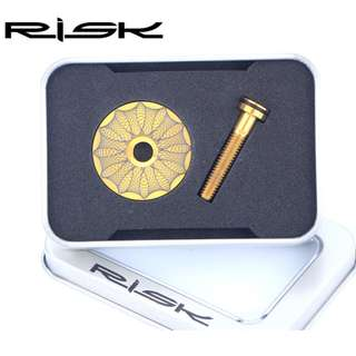 Risk Lightweight Titanium Alloy Bicycle Headset Cap + M6*30mm Bike Headset Stem (Gold color)