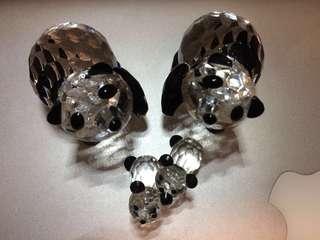 Swarovski crystal panda family set