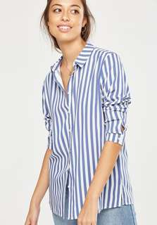 Cotton On - M Rebecca Button stripe soft material long sleeve shirt