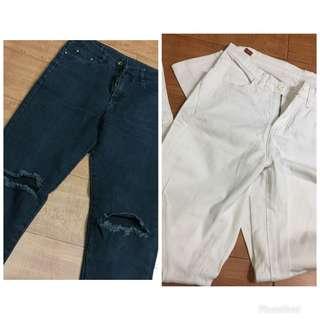 Wranco white pants tattered black pants