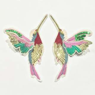 1 pair exquisite sequin hummingbird embroidered bird appliques patches for clothes sew on stripes clothing embroidery stickers